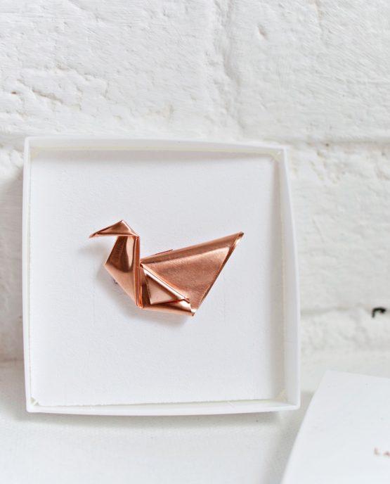 Folded Copper Origami Brooch