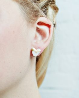 Marble & Gold Heart Stud Earrings