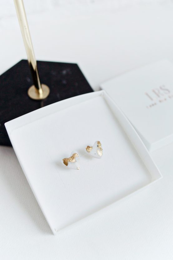 Marble & Gold Heart Stud Earrings