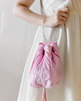 Hand-Embroidered Velvet Bucket Bag