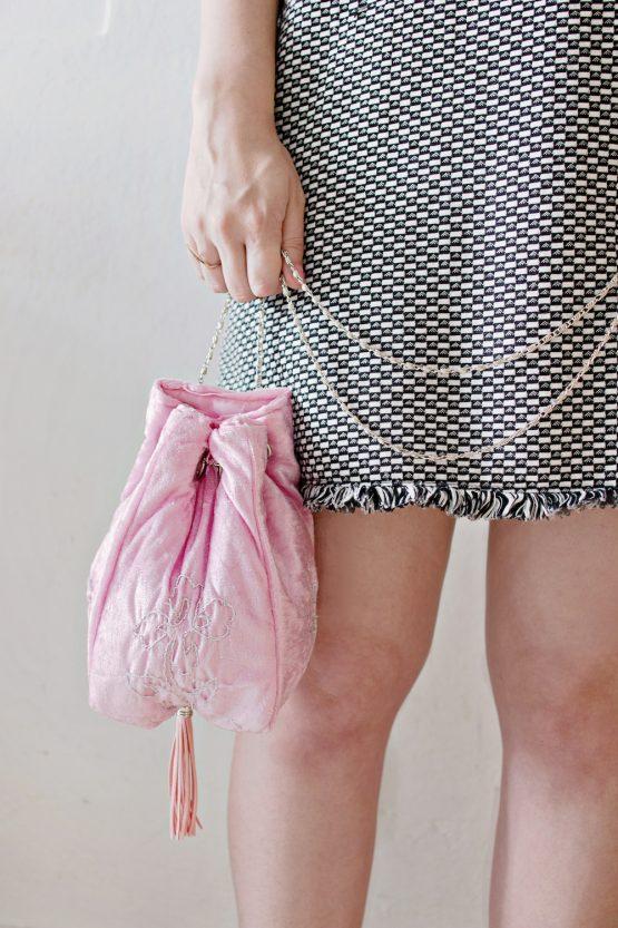 Hand-Embroidered Velvet Bucket Bag