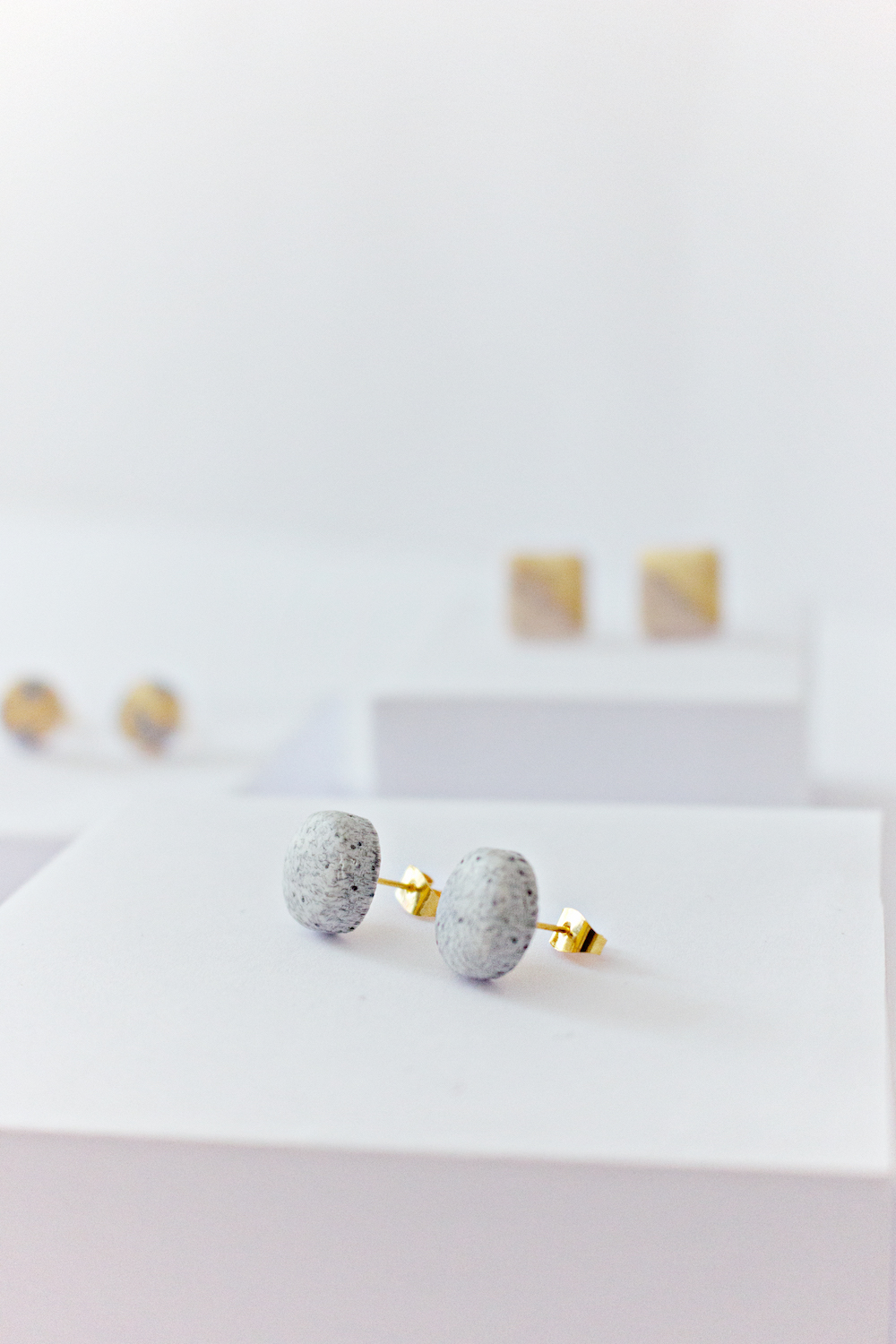 Granite Round Stud Earrings