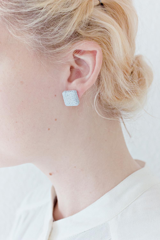 Granite Square Stud Earrings