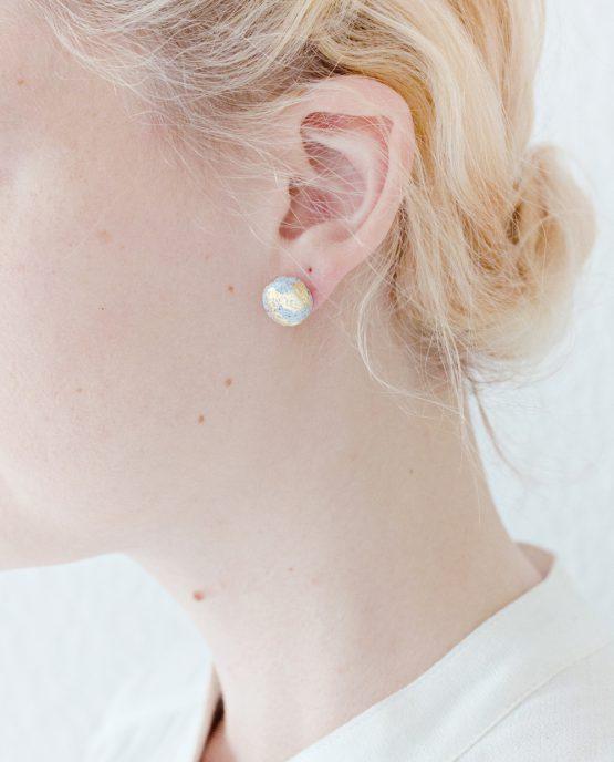 Granite & Gold Round Stud Earrings