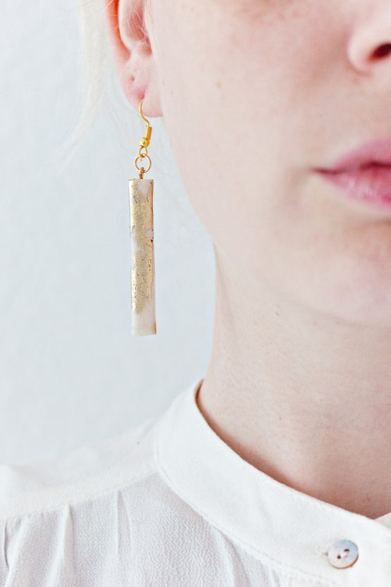 Marble and Gold - Rectangle Earrings