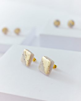Polymer Clay - Marble and Gold -Square Stud Earrings 1