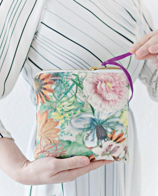Floral Faux-Suede Zipper Pouch