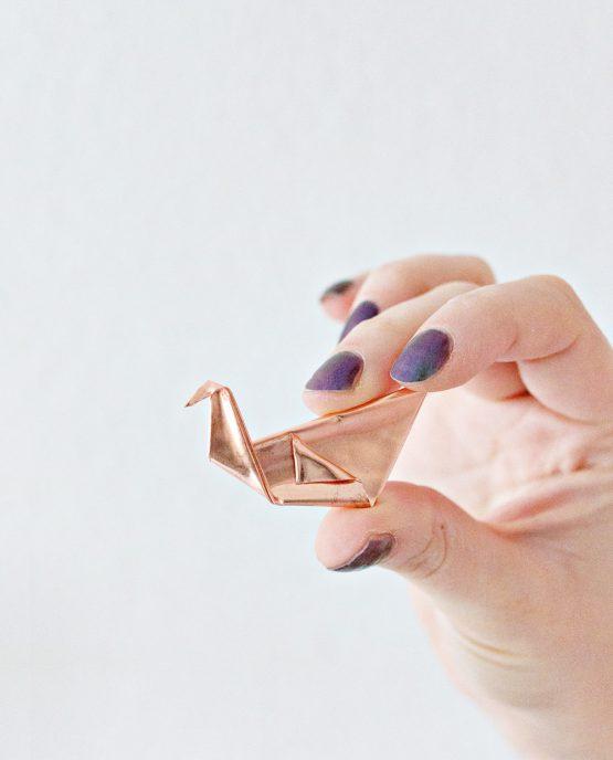 Origami Copper Brooch