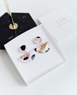 BLACK, PINK & GOLD – Half Moon Dangle Earrings