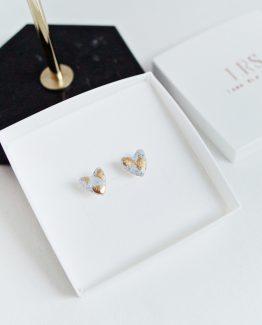 Granite & Gold Heart Stud Earrings