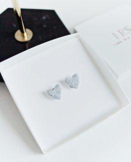 Granite Heart Stud Earrings