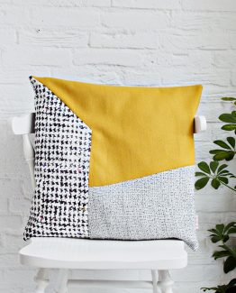 HANDMADE CUSHION COVER - Grey, Mustard & White