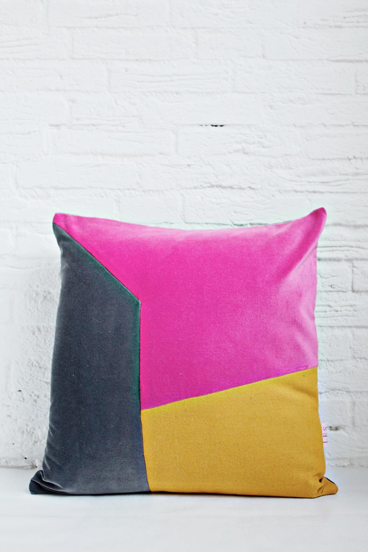 HANDMADE CUSHION COVER - Grey, Pink & Mustard