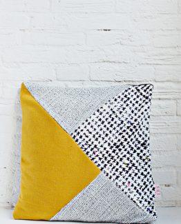 HANDMADE CUSHION COVER - Mustard, Grey, Black & White