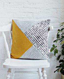 HANDMADE CUSHION COVER - Mustard, Grey, Black & White