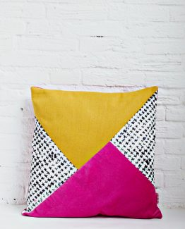 HANDMADE CUSHION COVER - Mustard, Pink, Black & White 4