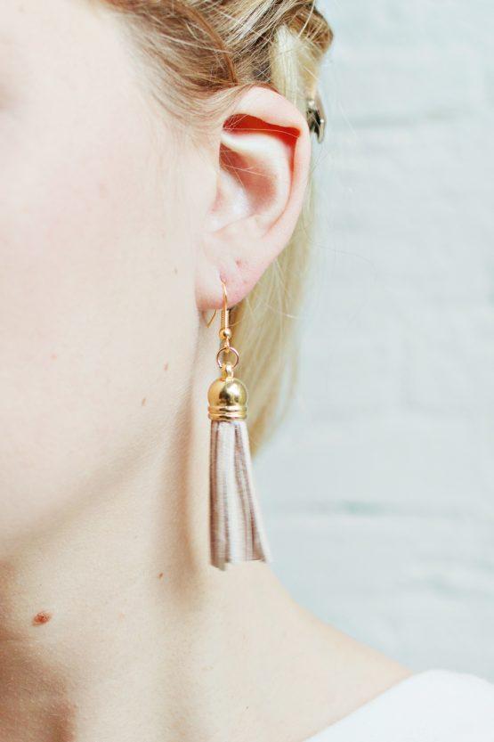 Tassel Earrings - Light Brown