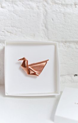 Folded Copper Origami Brooch