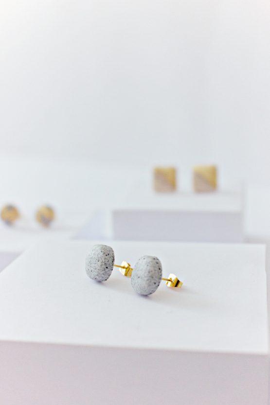 Granite Round Stud Earrings