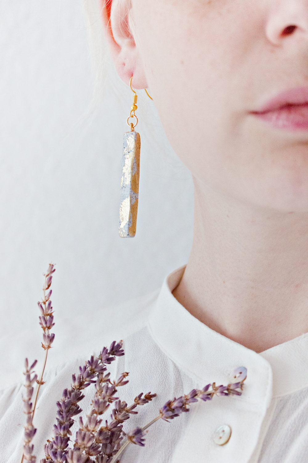 Granite and Gold - Rectangle Earrings