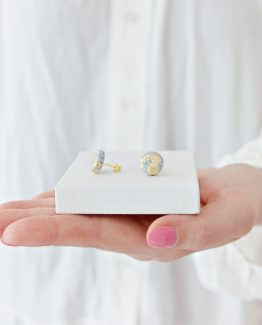 Granite & Gold Round Stud Earrings