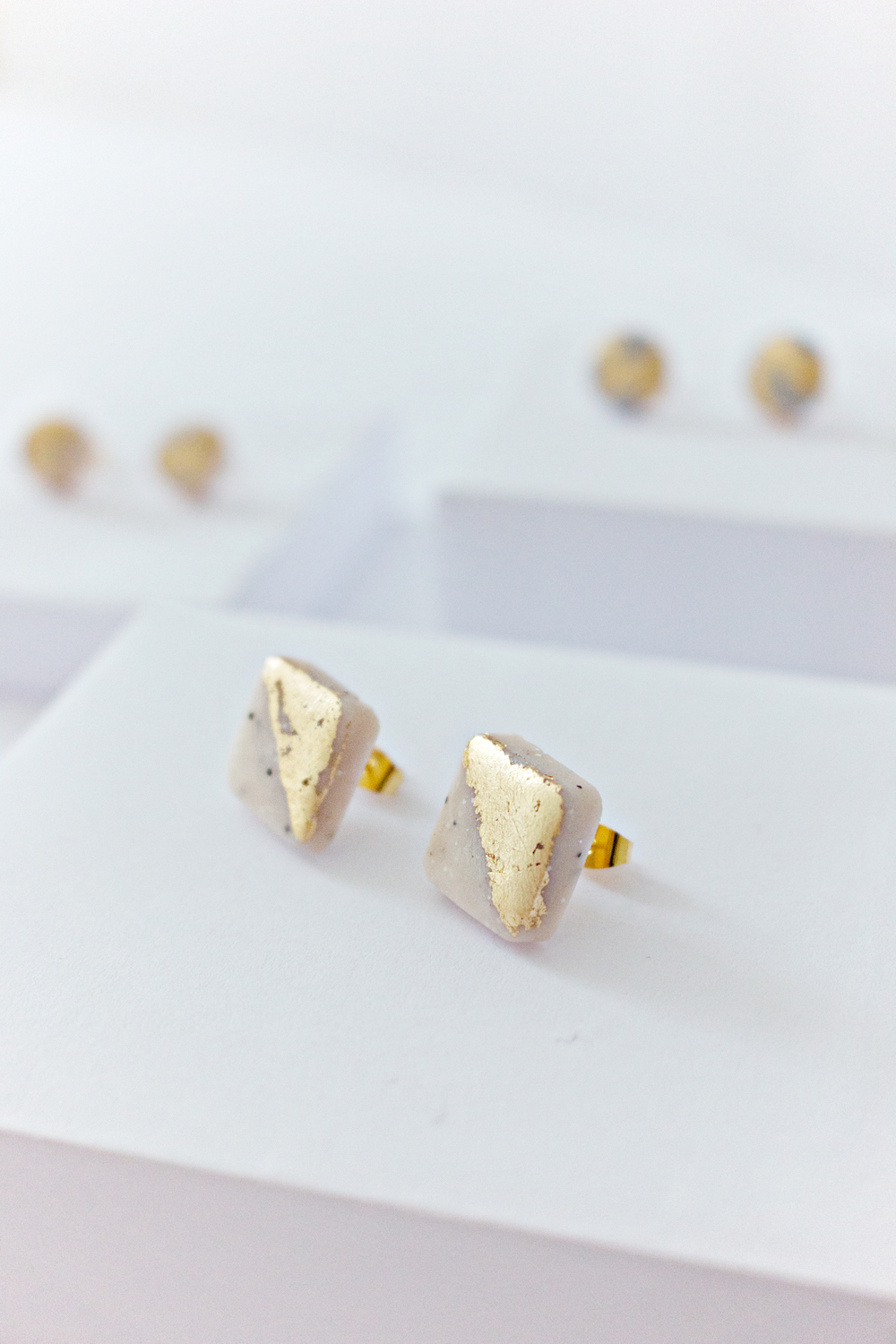Marble And Gold Leaf Square Stud Earrings