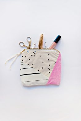 Patchwork Printed Zipper Pouch