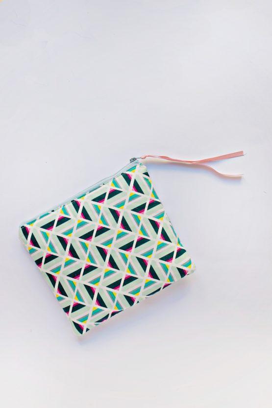 Geometric Printed Zipper Pouch