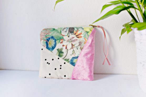 Floral Geometric Zipper Pouch