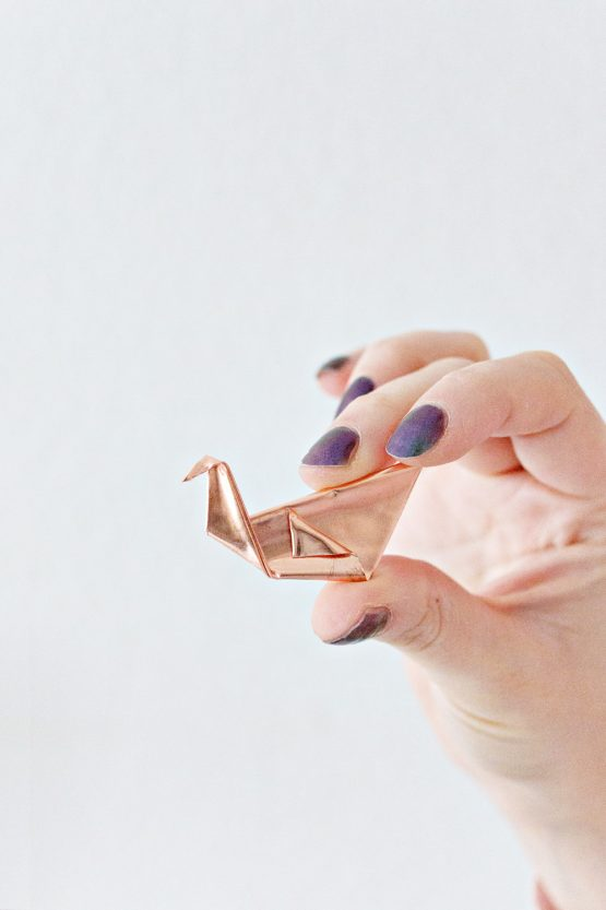 Origami Copper Brooch