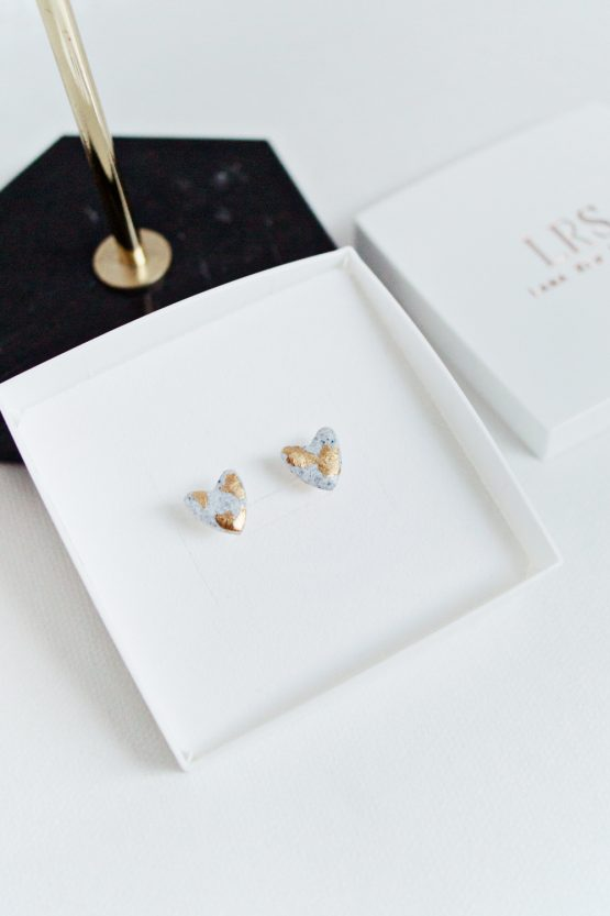 Granite & Gold Heart Stud Earrings