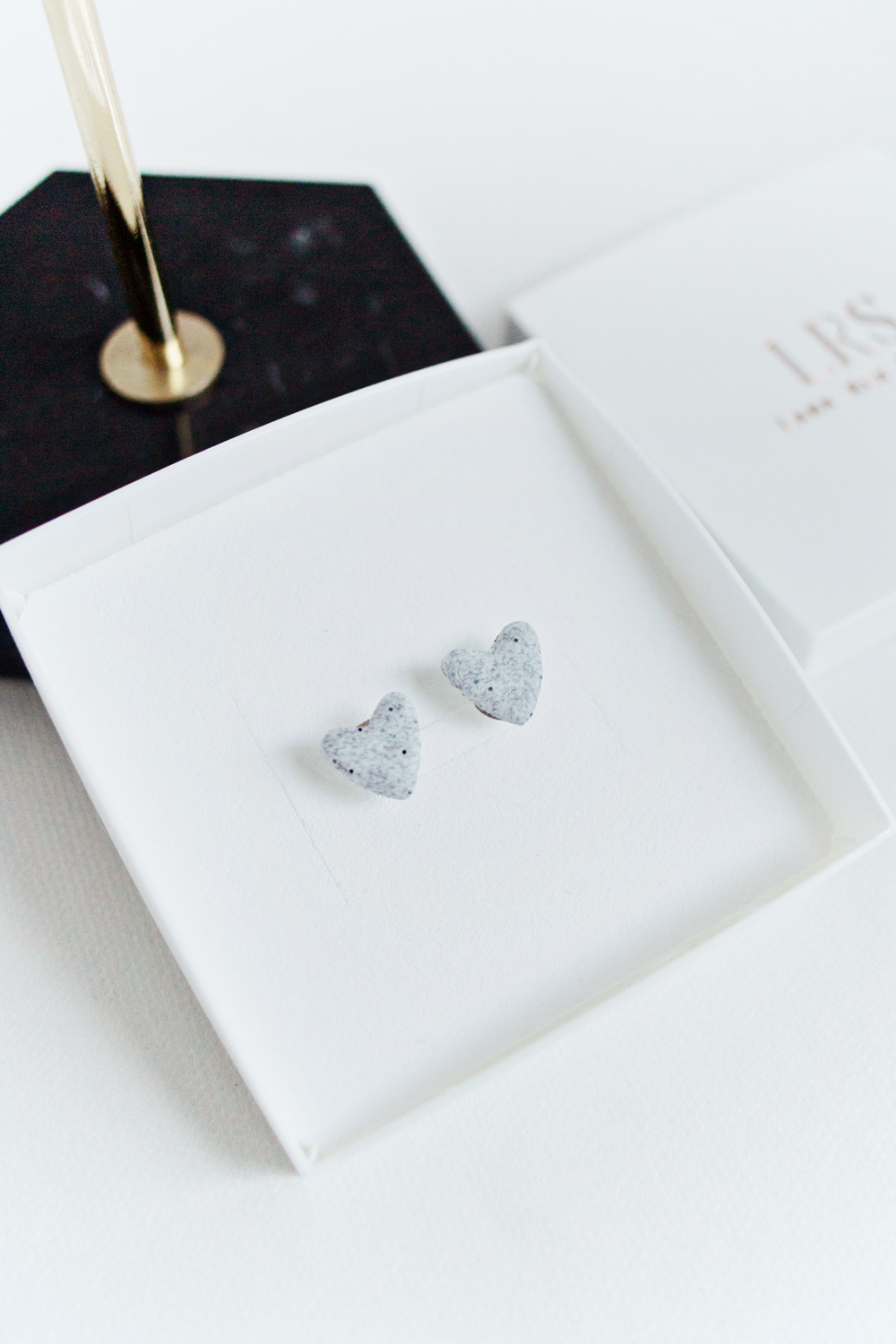Granite Heart Stud Earrings