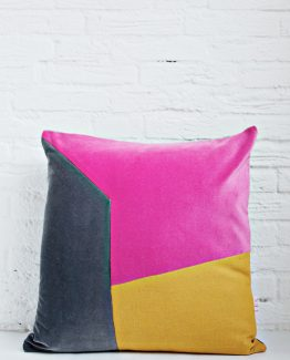 HANDMADE CUSHION COVER - Grey, Pink & Mustard
