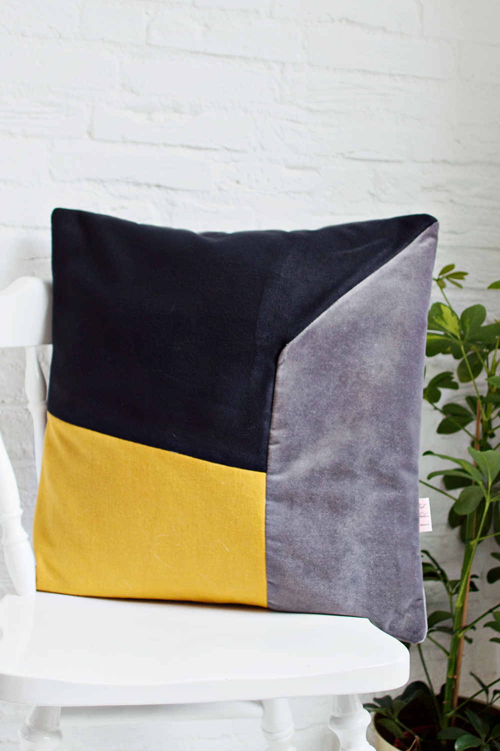 HANDMADE CUSHION COVER - Mustard, Grey & Black
