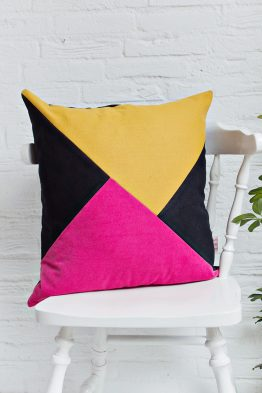 HANDMADE CUSHION COVER - Mustard, Pink & Black