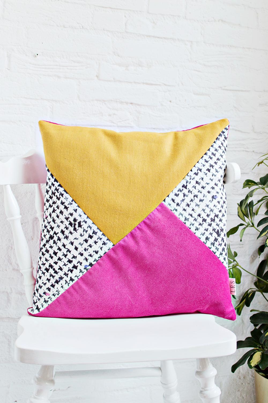 handmade cushion cover mustard pink black white shop. Black Bedroom Furniture Sets. Home Design Ideas