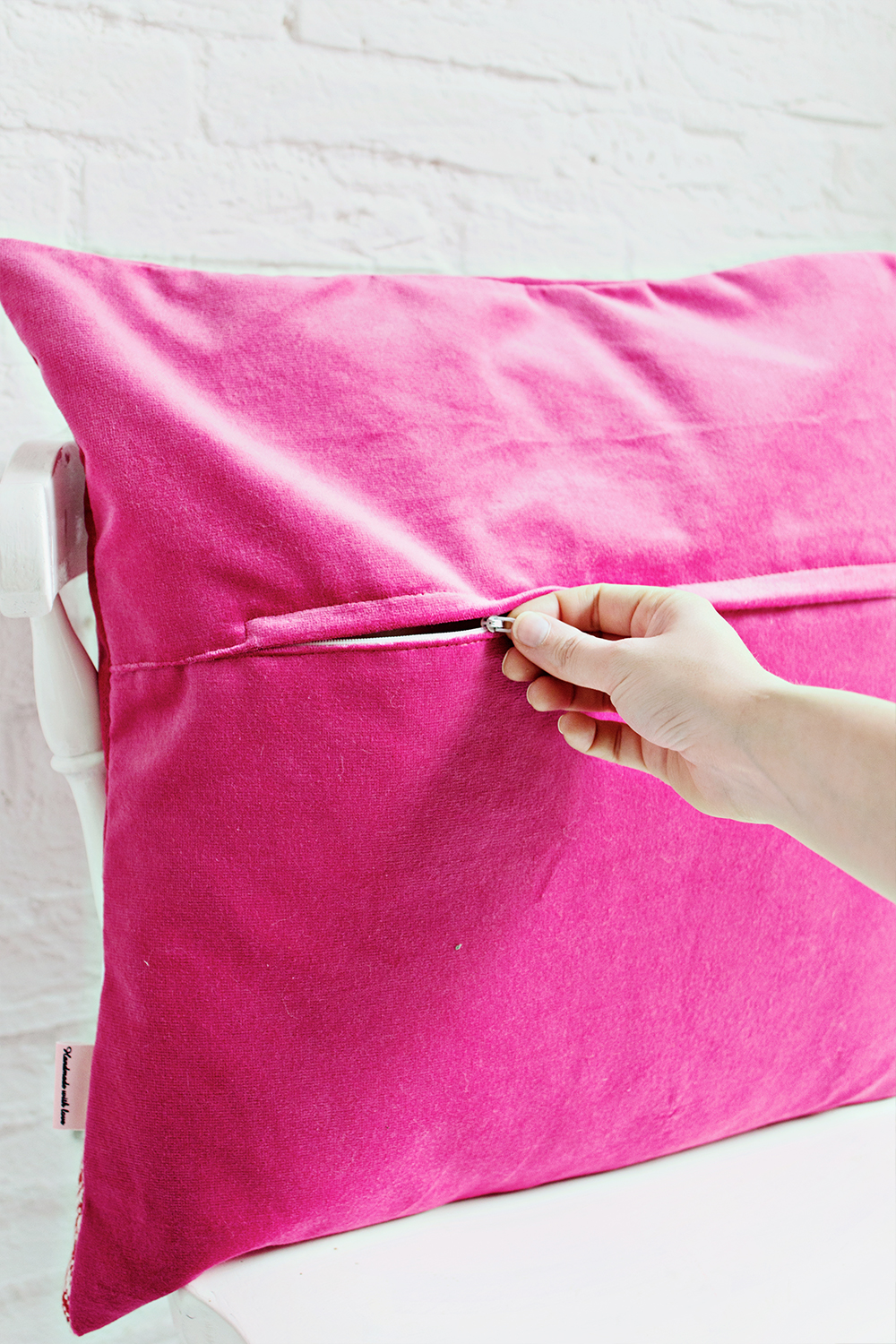 HANDMADE CUSHION COVER - Pink, Red & White