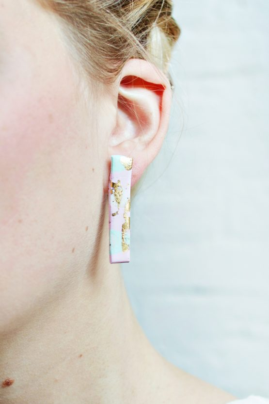 PASTEL AND GOLD – FLAT RECTANGLE EARRINGS