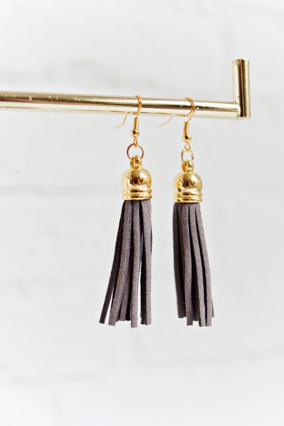 Tassel Earrings - Dark Grey