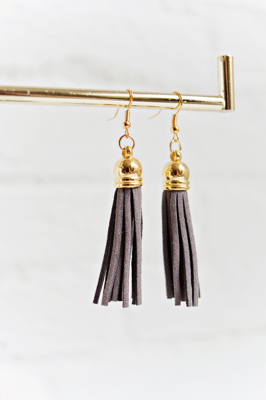 Tassel Earrings - Dark Grey