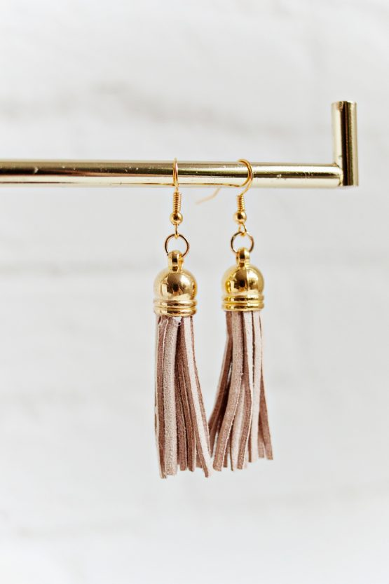 Tassel Earrings - Light Brown