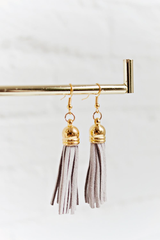 Tassel Earrings - Light Grey