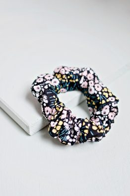 Hair Scrunchie - Floral Black