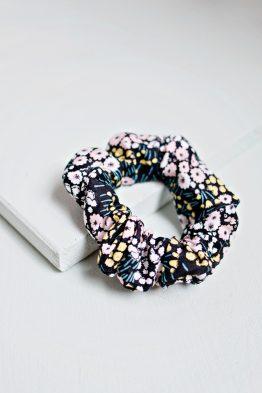 Hair Scrunchie - Floral Black