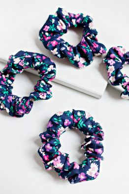 Hair Scrunchie - Floral Blue