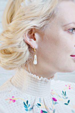 MARBLE AND GOLD – TEARDROP EARRINGS
