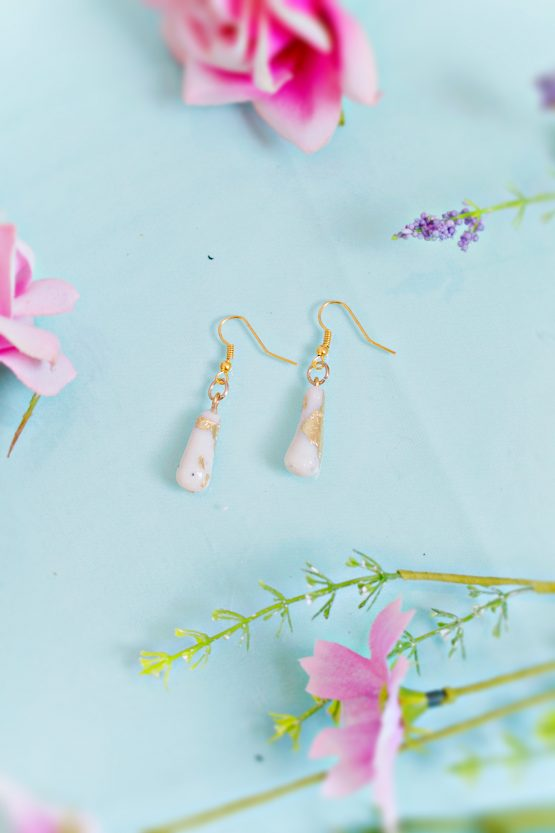MARBLE AND GOLD – TEARDROP EARRINGS